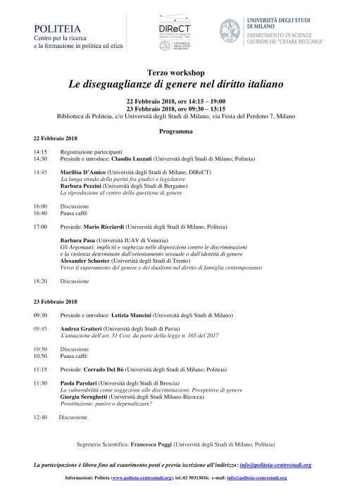 Workshop Le diseguaglianze di genere nel diritto italiano Università di MIlano 22-23 febbraio 2018 (1)-1